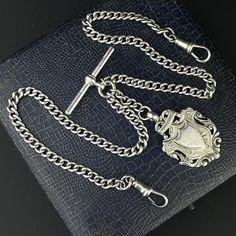 Edwardian Silver Shield Double Albert Pocket Watch Chain
