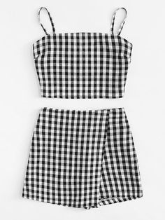 Knot Back Checked Cami With Shorts -SheIn(Sheinside) shorts shorts shorts shorts outfits shorts Cute Comfy Outfits, Cute Summer Outfits, Stylish Outfits, Cool Outfits, Girls Fashion Clothes, Teen Fashion Outfits, Teenage Outfits, Outfits For Teens, Pullover Rock