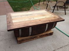 Wine barrel pallet coffee table