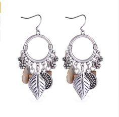 Vintage Earrings Brincos Antique Silver Color Alloy Leaf Stone Tassel Drop Earrings Pendientes Indian Jewelry Summer Style