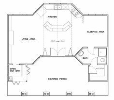 First Floor Plan of Coastal   Cottage   Craftsman   Vacation   House Plan 57856