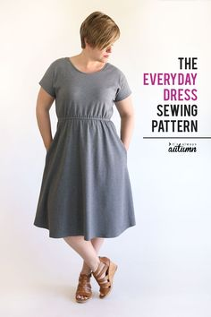 The Everyday Dress sewing pattern + tutorial - It's Always A.- The Everyday Dress sewing pattern + tutorial – It's Always Autumn The Everyday Dress free sewing pattern in women's size large. Dress Sewing Patterns, Sewing Patterns Free, Free Sewing, Clothing Patterns, Free Pattern, Easy Dress Pattern, Pattern Sewing, Plus Size Patterns, Sewing Clothes