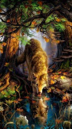 Wonderfull and sooo beautiful Wolf Art painting Anime Wolf, Wolf Spirit, Spirit Animal, Beautiful Wolves, Animals Beautiful, Fantasy Wolf, Fantasy Art, Wolf Painting, Wolf Wallpaper