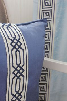 Troynorth Borders Jedburgh Embroidered tape is a luxurious wide braid available in a choice of soft neutral colours and bold brights with a choice of designs such as greek key and geometric. Here we see Jedburgh in Sapphire, classic blue.