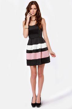 Pretty Black Dress - Skater Dress - Satin Dress - $49.00   Cute, simple bridesmaid dress
