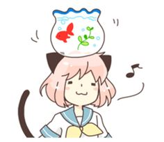 Sticker of Cat ear girl Necoco part2!! Rabbit stuffed and gray cat her friends. Colorful and cheerful feel! Love and positive message.