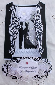 Wedding, OOAK, Handmade, Congratulations, Wedding Day, Black and White, Gatefold Card, by HydeParkHill on Etsy