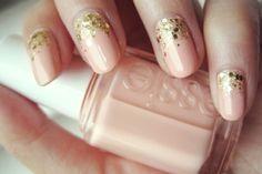 Nail blush and gold. Almond.