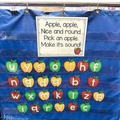 Miss Kindergarten, Kindergarten Centers, Preschool Literacy, Kindergarten Center Organization, Apple Activities Kindergarten, Kindergarten Apples, Abc Activities, Preschool Themes, Organization Ideas