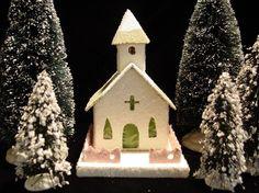Glitter or  Putz House/Church by PlumePoppyDesigns on Etsy, $40.00