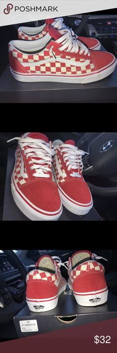 "134bdc4fff7 Red checkered Vans! ""Old Skool"" Red checkered Vans for sale! • worn"