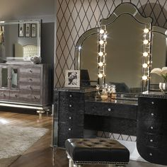 Hollywood Swank Vanity Mirror w/ Light Bulbs by Aico Amini Innovation - Darvin Furniture, Chicago, IL