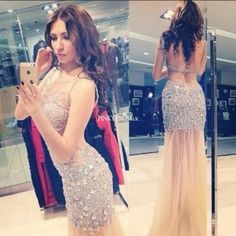 Luxurious sparkling stones long prom dresses in Dubai sheer scoop tulle  floor length sexy women dress evening prom gown fb8f0c48bb2d