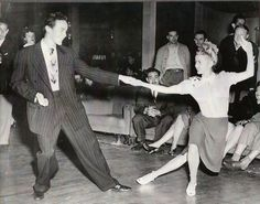 The lady on the right is Jean Veloz-- one of the original Southern California Swing Dancers.  She's (I think) in her late 80s to early 90s now.  I took a class w/ her  saw her awesome dancing at Camp Hollywood last year (Labor Day Weekend 2013).  An inspiration for me to live the moment  keep going w/ my swing dancing. :-)