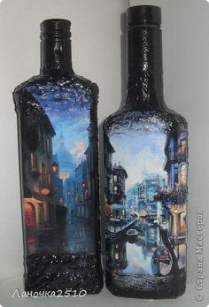Декор предметов Декупаж две в одном   Бутылки стеклянные фото 1