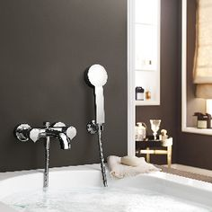 LaFleur Lavatory tub fittings - wall-mounted faucet with details Bath Taps, Bathroom Hooks, Pinterest Chrome, Wall Mount, Faucet, Tub, Sink, Relax, Bathrooms