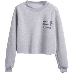 SheIn(sheinside) Grey Arrow Print Sweatshirt ($19) ❤ liked on Polyvore featuring tops, hoodies, sweatshirts, grey, grey sweatshirt, gray top, patterned sweatshirts, patterned tops and long sleeve tops