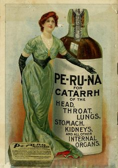 PE-RU-NA which was comprised of up to 28% alcohol, water, burnt sugar for coloring and cubeb (a tropical southeast Asian shrubby vine (Piper cubeba) having spicy, berrylike fruits used for flavoring).
