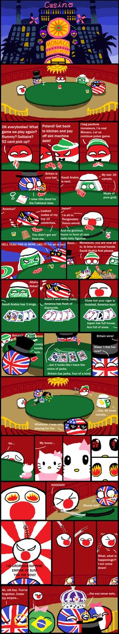 Poker night at the Grand Monaco ( Japan, UK, Poland, Monaco, Saudi Arabia, USA ) by Black Mirror  #polandball #countryball