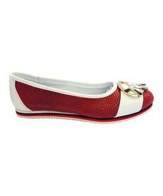 Loving this Wine & White Perforated Leather Flat on #zulily! #zulilyfinds
