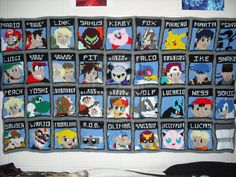 Super Smash Bros Knitted Blanket! This is awesome!! Karl would love this!!