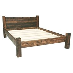 Pretty close to what i want Built from solid rustic timber, these wooden bed frames come in all sizes. Single, double, king size bed frames handmade and finished in a supreme wax finish. Solid Wood Bed Frame, Wooden Bed Frames, Wood Beds, Wooden Screen, Rustic Bed Frames, Wooden Double Bed Frame, Wood Bedroom Furniture, Rustic Furniture, Cheap Furniture