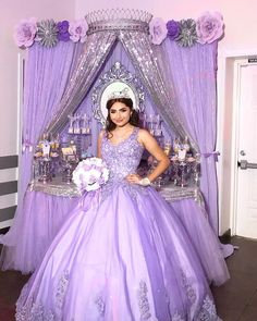 Creations by martha on vanessas 15 backdrop paperflowers paperflowerbackdrop creationsbymartha creationsbymartha backdrop babygirl candytable quinceaera backdrop with photos of the quinceaera girl! Sweet 15 Quinceanera, Mexican Quinceanera Dresses, Robes Quinceanera, Quinceanera Planning, Quinceanera Themes, Quince Themes, Quince Decorations, Quince Ideas, Purple Birthday