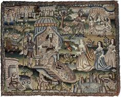 white illustrations of needlework from the 17th century onwards, including pieces from Huish's own collection. The first image below (dated 1630) is a richly coloured piece called The Story of Queen Esther.