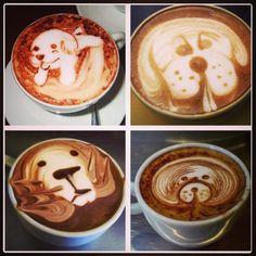Dogs latte art #latteart #dogs