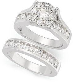 14K White Gold Fn Round Cut Diamond Wedding Women's Engagement Bridal Ring Set   #aonedesign #EngagementWeddingAnniversaryPromise