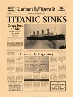 Titanic Sinks Poster von The Vintage Collection bei AllPosters.de Titanic Sinks Poster von The Vintage Collection bei AllPosters. Rms Titanic, Titanic Photos, Titanic Sinking, Titanic Wreck, Titanic Museum, Titanic Movie, Titanic Poster, Vintage Newspaper, Poster Vintage