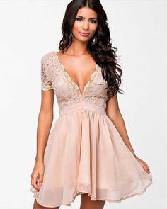 Joky Quaon Summer Short Sleeve Sexy Deep V Neck Backless Pink Tulle Lace Above Knee Mini A-Line Cocktail Party Dresses Girl 2017