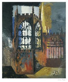 """""""Coventry Cathedral, 15 November 1940 by John Piper 1940 ( The day after the Coventry Blitz. Urban Landscape, Abstract Landscape, Landscape Paintings, City Painting, Oil Painting Abstract, Abstract Painters, John Piper Artist, Kitsch, Coventry Cathedral"""