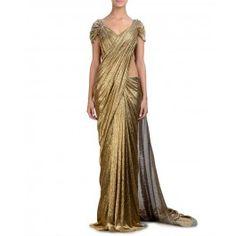Glamorous Golden Sari Gown