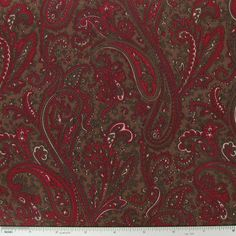 CCW10-8- Red & Brown Paisley Fabric