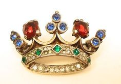 Gorgeous-Vtg-Crown-Trifari-Sterling-Silver-Jeweled-Rhinestone-Crown-Brooch-Pin