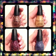 Makeup Review, Swatches: SinfulColors Holiday 2013 Nail Polish Collection - Lustre Glitter TopCoats, Tinsel Shimmer: 2014 Trends