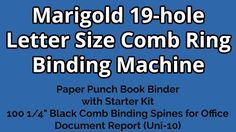 Test + Try =Results                   : Marigold 19-hole Letter Size Comb Ring Binding Mac...
