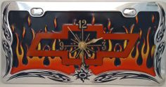 1 , Chevy Clock, on a, ' ,CHEVY BOW TIE, in, FLAMES, ', Metal Sign, Framed, by, Chrome, Black, Tribal Design Frame,,27B5.1&31A3.2,,,SHIPPED USPS,,,, ASTRODEALS,http://www.amazon.com/dp/B00HLMZXM0/ref=cm_sw_r_pi_dp_cgQ9sb1TW2FAAKV6
