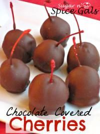 Chocoalte Covered Cherries from the Sugar N Spice Gals on MyRecipeMagic.com are the perfect Holiday treat to eat or give to neighbors. #chocolate #cherries