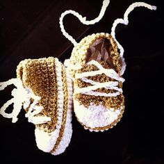 Golden Baby Converse by LooplaCrochet on Etsy