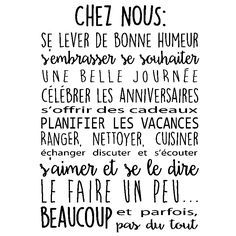 Stickers muraux citations - Sticker Chez nous... Sticker Citation, Math Equations, Signs, Quote Wall Decals, Cleanser, Living Room, Kitchens, Shop Signs, Sign