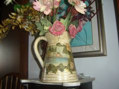 PITCHER WITH DECOUPAGE AND GOLD LEAF