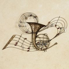 Among the Music French Horn Metal Wall Art