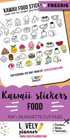 FREE planner stickers : kawaii food - PDF and Silhouette Cut files included Food Stickers, Free Printable Stickers, Kawaii Stickers, Cute Stickers, Free Printables, Mini Happy Planner, Free Planner, Kawaii Planner, Journaling