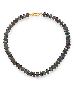 "Lena Skadegard Soir Labradorite - beads large, .55"" wide.  Necklace is 18"" long, with two you could have a nice 36"" long."