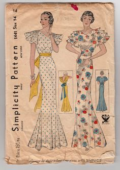 Vintage Sewing Pattern Rare Ladies 1930's Evening Gown