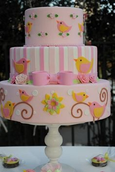 super ideas for baby girl cake bird Gorgeous Cakes, Pretty Cakes, Cute Cakes, Bolo Fack, Girly Cakes, Pink Cakes, Baby Girl Cakes, Shower Bebe, Love Cake