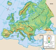 Map of geographic Europe