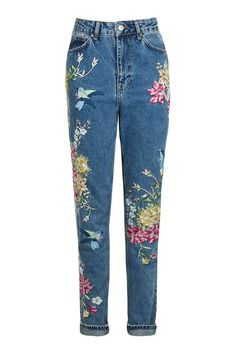 TALL Garden Embroidered Mom Jeans